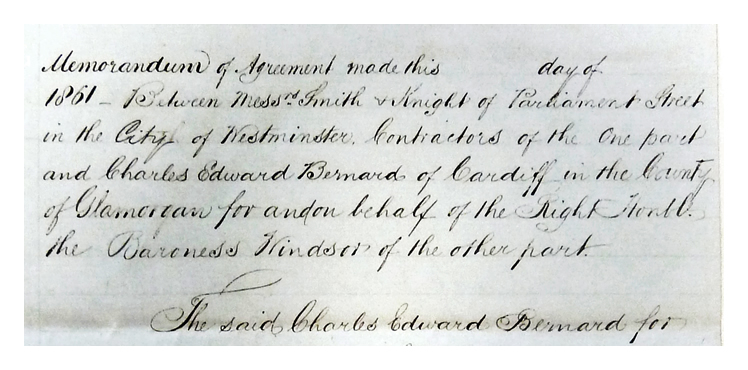1861 - A Memorandum of Agreement to quarry stone in Penarth and Llandough, for use by the Penarth Harbour dock and Railway Company.