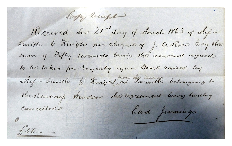 1863 - Copy Receipt - £50 - Royalties Stone Penarth