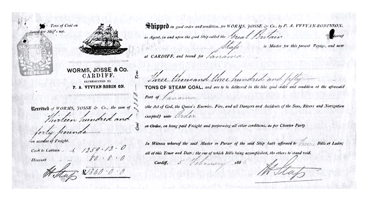 Bill of Lading for 3,350 tons of steam coal loaded aboard the s.s. Great Britain