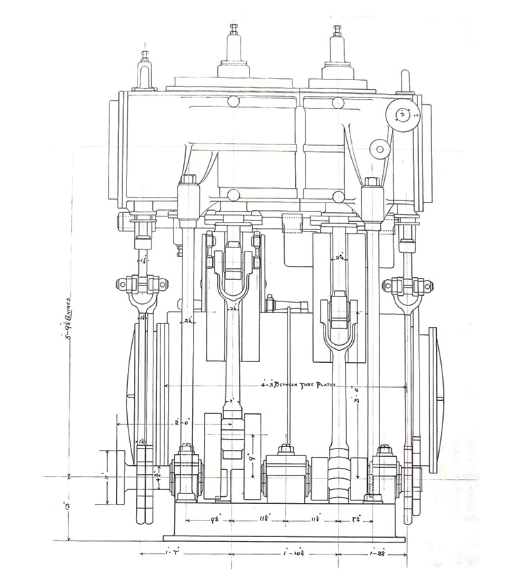 Sections of a drawing of the Compound Surface Condensing Marine Screw Engines of Mission Steamer 'Eirene' - Shop Number No.11 Engine.