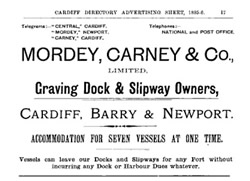 1895-96 - The Cardiff Directory Adevertising Sheet for Mordey, Carney & Co. Ltd.