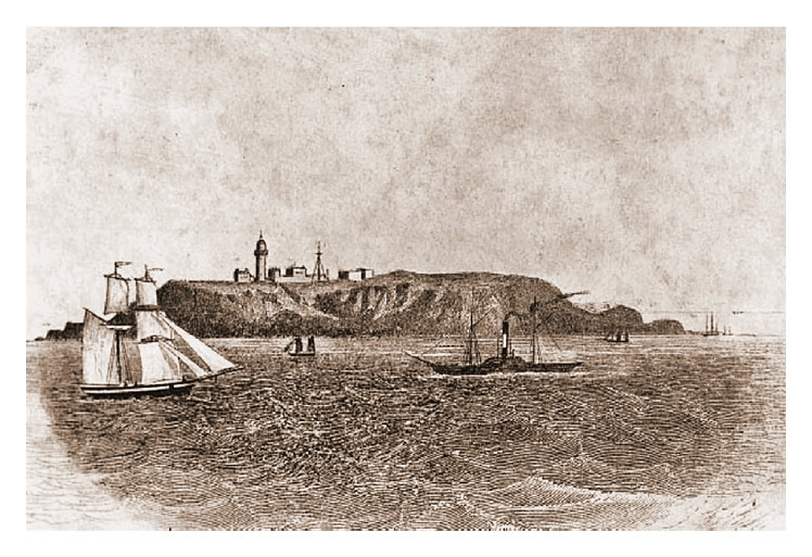 c.1897 - A fine engraving of Flat Holm showing the lighthouse etc. and the mast Marconi constructed for his wireless transmission experiments.