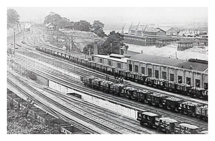 A photograph taken in July 1923 of the numerous sidings situated at the rear of the machine shops of the Penarth Pontoon and Ship Repairing Company Limited.