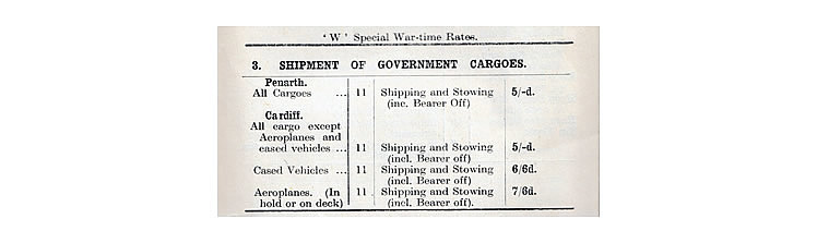 Special War-time Rates for the Shipment of Government Cargoes.