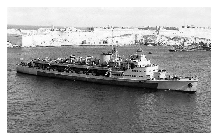 H.M.S. Prins Albert off Gibraltar in late February 1946.