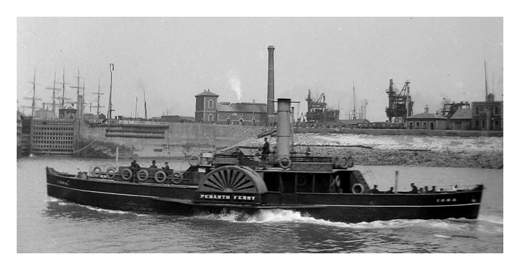 1890's - The Penarth Ferry, p.s. 'Iona', approaching Cardiff.