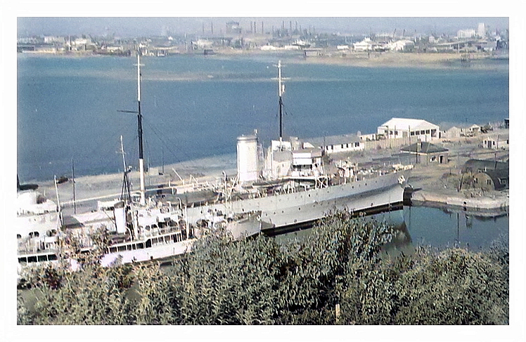 1950's - Royal Naval Reserve vessels laid up at Penarth Dock.