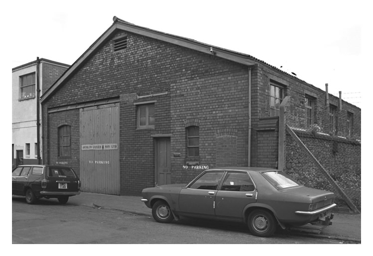 An exterior view of Jenkin Jones and Son Sailmakers premises, 12 Hurman Street, Cardiff Docks.
