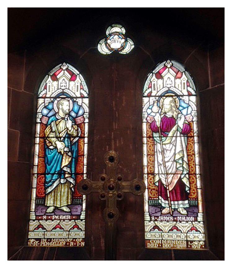 Stained galss windows dedicated to Commander Pengelley