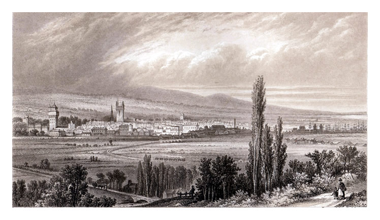 F. Jones / Chas. Lawrie - 'Cardiff from Leckwith' - 1875.