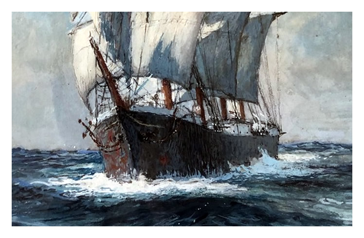 Claude Marks - A fine watercolour of a Blohm and Voss vessel assumed to be 'Passat' making way in full sail.