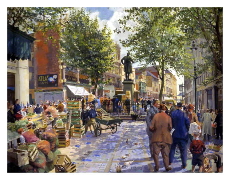 Clifford Charles Turner (1920-2018) : A wonderfully vibrant oil painting of the Hayes, Cardiff.