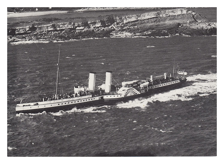 'The paddle steamer 'Britannia' of the P. & A. Campbell fleet off Sully Island in 1950.'