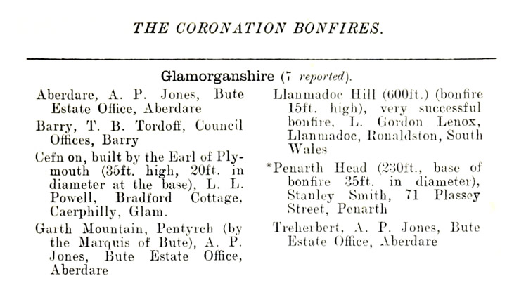 The Coronation Bonfires in Glamorganshire - 1911.