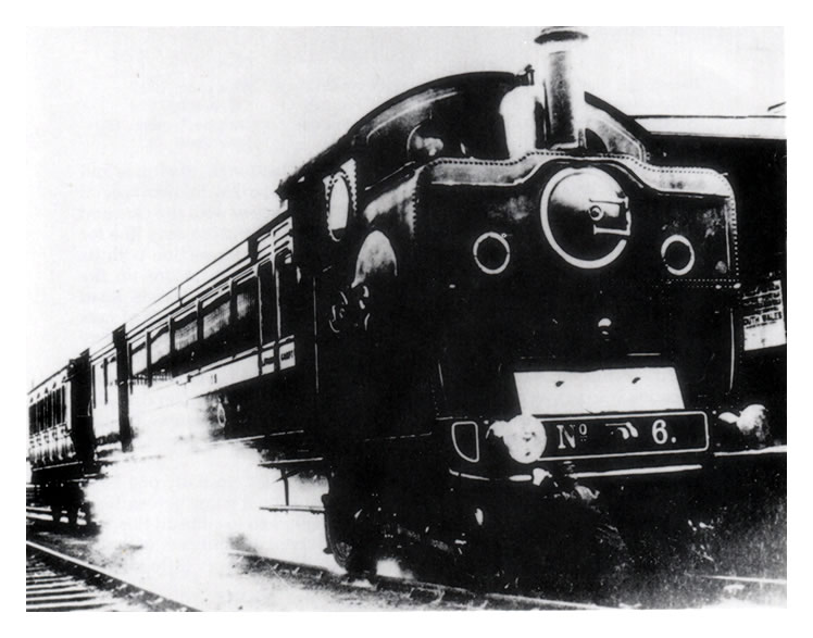 TVR steam motor car No. 6 (with six-wheel coach attached)