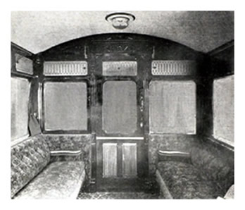 1904 - Interior of First Class Compartment - Taff Vale Railway Steam Car.