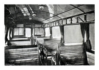 1904 - Interior of Third Class Compartment - Taff Vale Railway Steam Car.