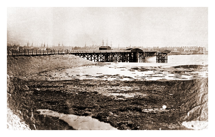 1860's - The completed swing bridge with approaches over the Rive Taff.