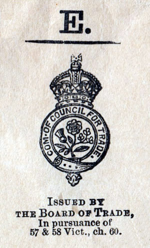 The seal of the Board of Trade ; in pursuance of 57 & 58 Vict., ch. 60. Com. of Council for Trade